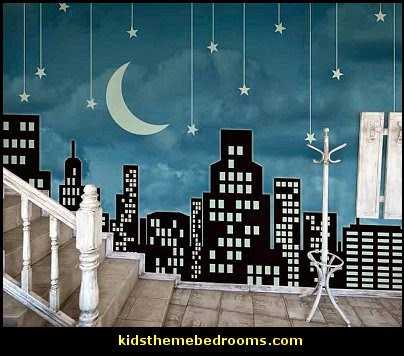 Celestial   Moon   Stars   Astrology   Galaxy Theme Decorating Ideas   Moon  Stars Bedroom. City Moonlight Sinatra Stars Wall Mural ... Part 97