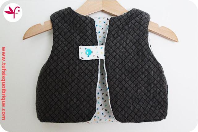 Gilet Molletonné en 18 mois en jersey matelassé doublé coton imprimé