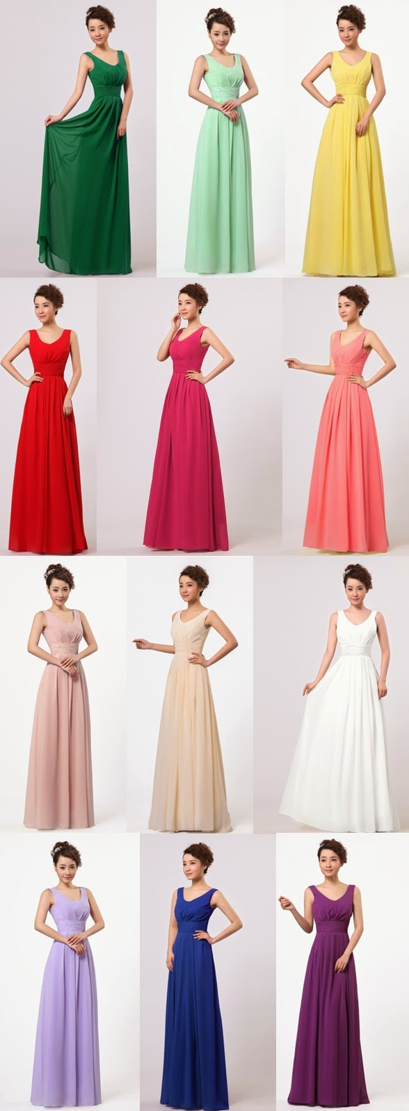 New 2015 Simple Sleeveless V-neck Bridesmaids Long Dress