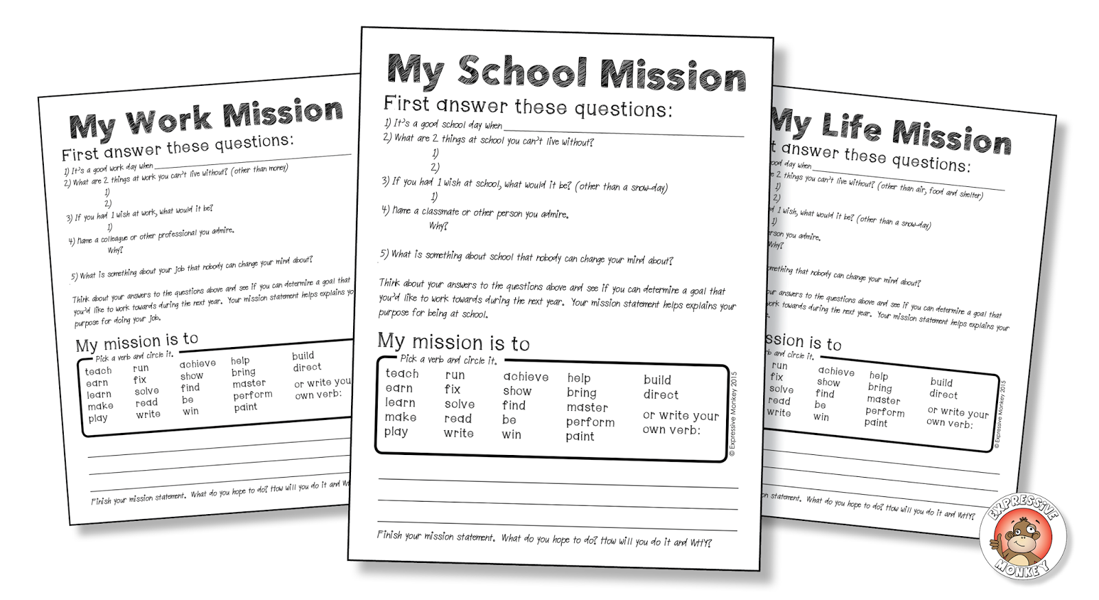 avatars a lesson about identity expressive monkey next students will write a mission statement the mission statement can be about school or life there is also a work mission statement writing sheet in