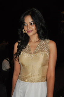 Bindu Madhavi in a golden top White Skirt White Purse Blackberry Mobile at a party