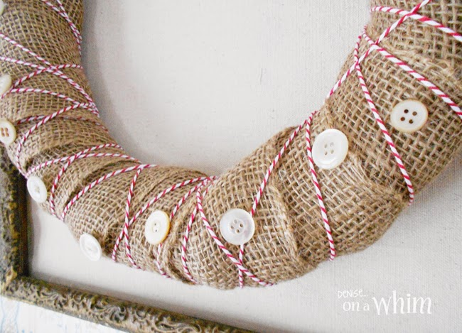 Vintage Button and Bakers Twine Repurposed Wreath from Denise on a Whim