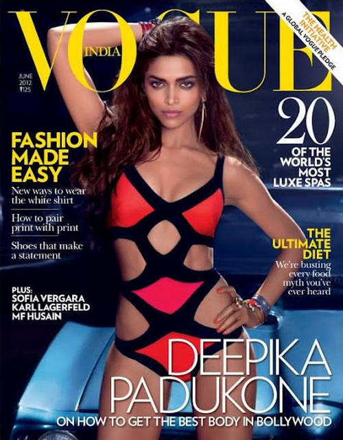 Deepika Padukone red and black bikini pic on vogue cover - Deepika Padukone Best Body - VOGUE COVER