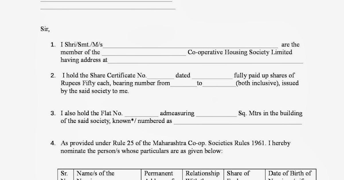 Housing Society Maharashtra Nomination Forms