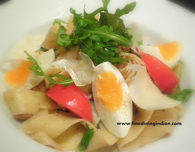 pappardelle pasta recipe photo with tuna egg and balsamic from finediningindian.com