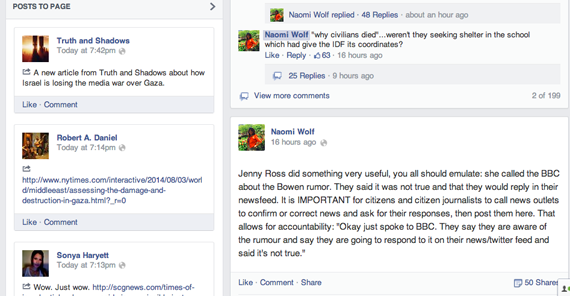 Screen shot of Naomi Wolf's Facebook page.