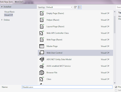 Add web user control in vs 2012