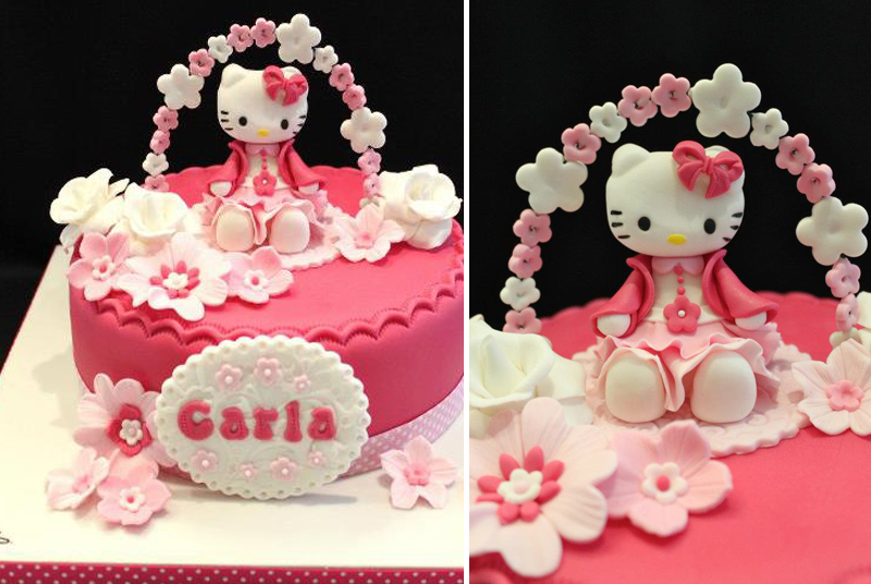 Décoration gâteau hello kitty rose