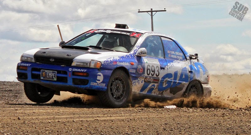 Giant sponsored Subaru rally car