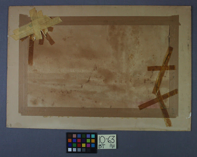 old repairs to paper, tape, art conservator needed