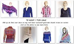 TE KOOP / FOR SALE exclusief gebreide shawls / truien en vesten