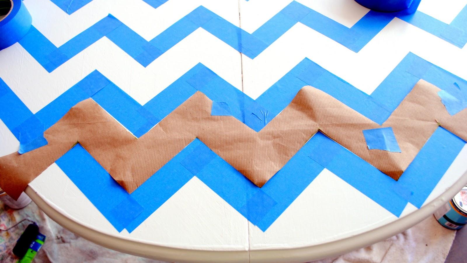 chevron template for painting - spunky junky scotchblue paint party chevron table