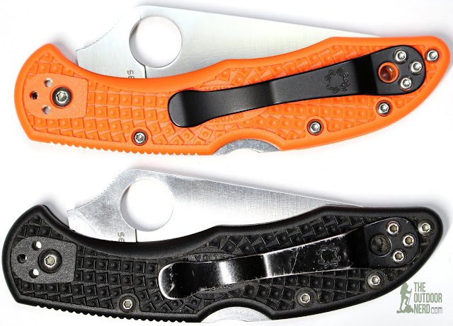 Numbered Spyderco Orange Delica 4 - With Black Delica 1