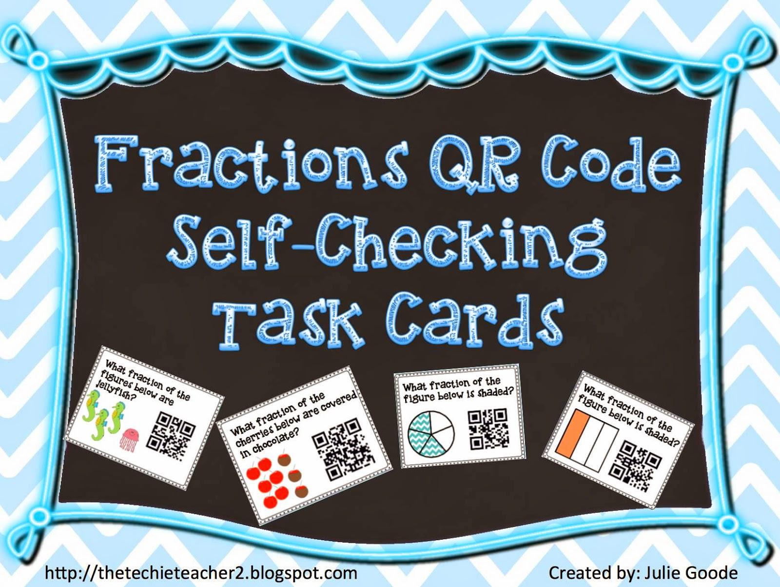 fractions qr code task cards flash freebie the techie teacher. Black Bedroom Furniture Sets. Home Design Ideas