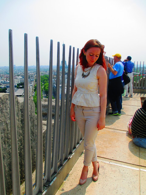 Arc de Triomphe white and gold peplum chinos sunglasses railings