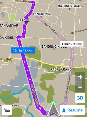 Rute Map petunjuk jalan dari Bojongsoang ke Jalan Asia Afrika Bandung
