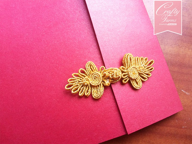 Red and Gold Chinese Button Two Fold Wedding Card Kuala Lumpur