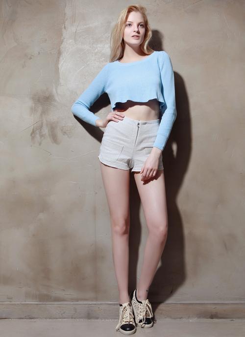Sky Blue Flowy Cropped Sweater