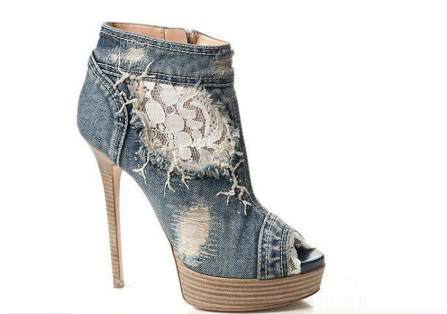 Jeans color high heels for ladies