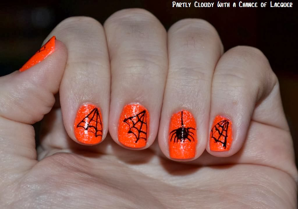 Freehand Halloween Nail Art Partly Cloudy With A Chance Of Lacquer
