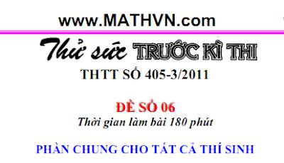 De thi thu DH 2011, Toan hoc tuoi tre 405