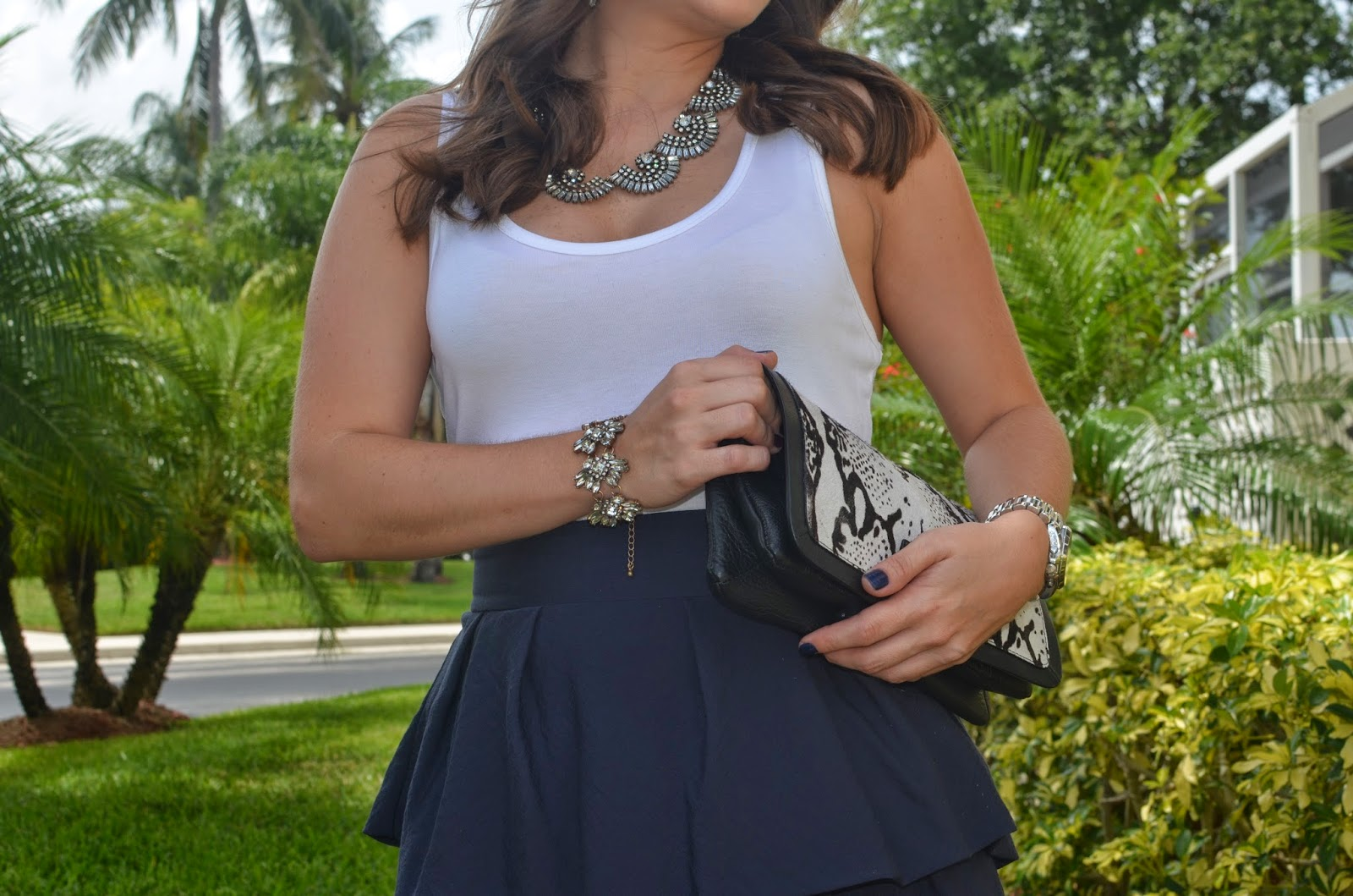Ruffle dress - printed clutch - Emma & Sophia - statement necklace