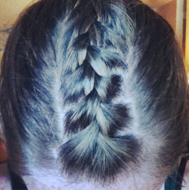 French braid top center into ponytail braid