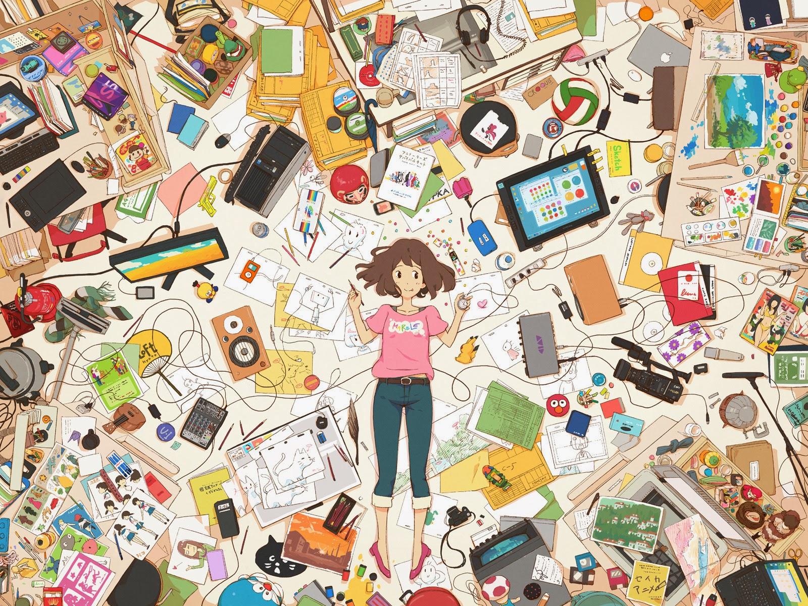 quarto bagunçado ilustração