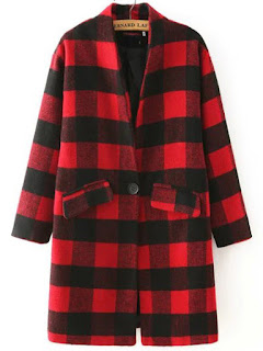 SheIn Red Black Stand Collar Plaid