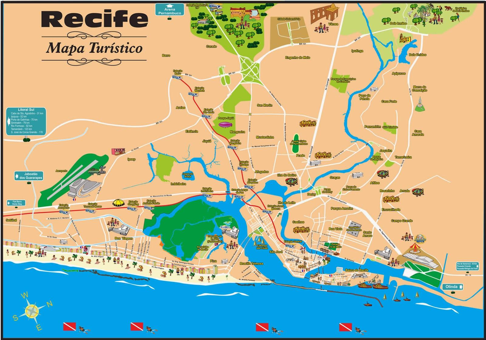 Mapa turístico de Recife - PE