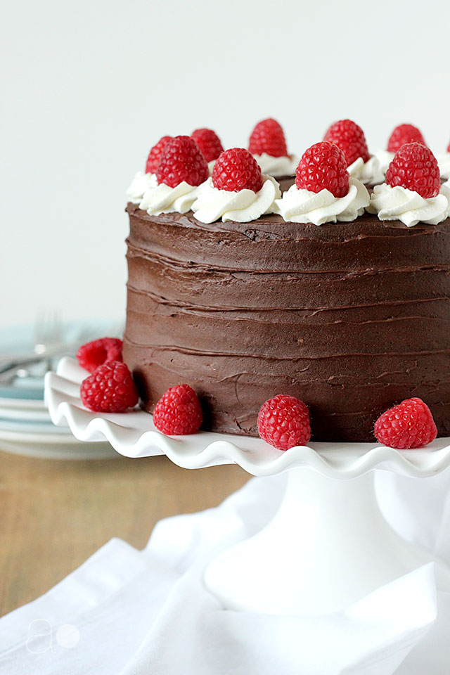 ambrosia: Dark Chocolate Raspberry Truffle Cake