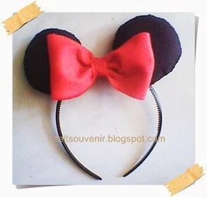 Cara Membuat Bando Flanel 2 Minnie Mouse