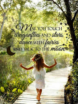 """May you touch dragonflies and stars, dance with fairies and talk to the moon."" ~ Unknown; Picture of a little girl walking on a wooden pathway in the forest."