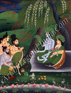 Rama and Sita engage in spiritual discussions with forest sages.