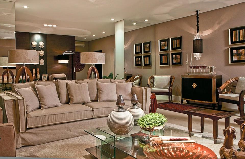 Sala De Estar Cinza E Lilás ~  ! Veja ambientes decorados nas cores bege e branco!  DecorSalteado