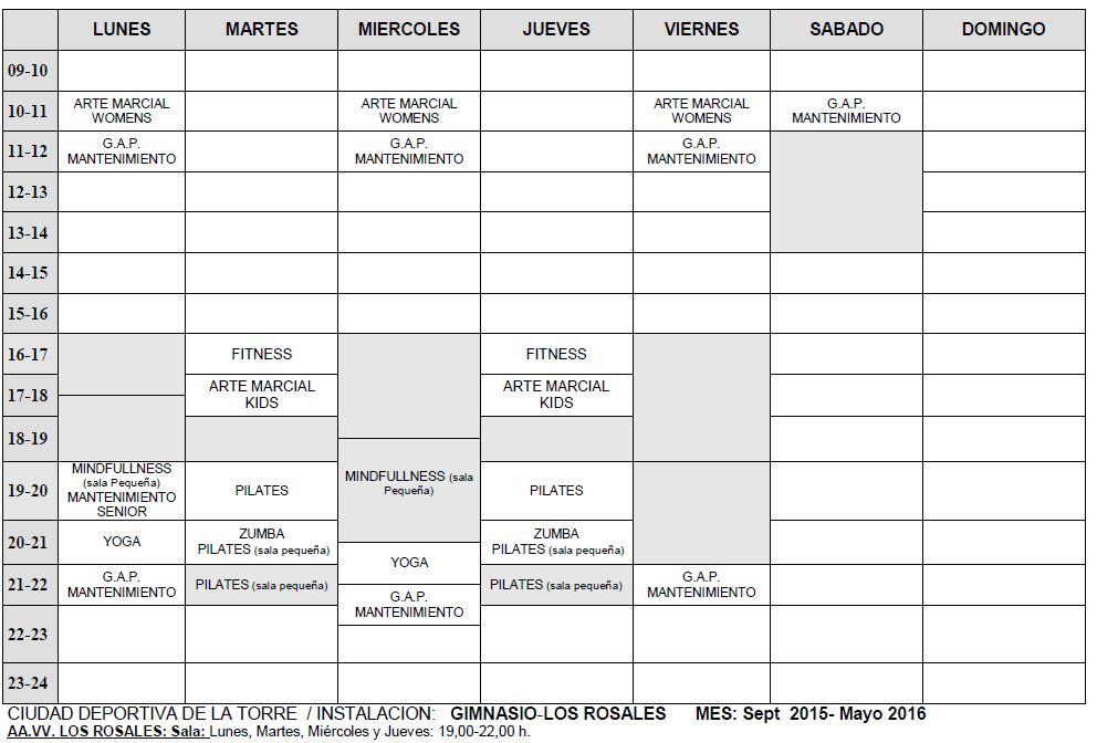 Actividades Deportivas AVCyD Los Rosales 2015-2016