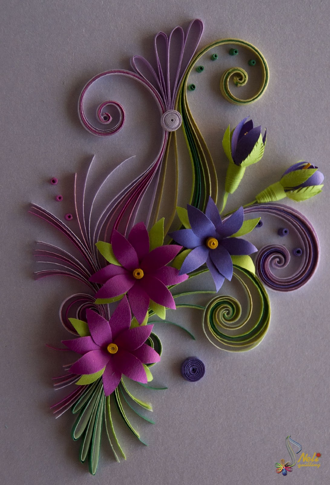 Neli quilling art quilling card flowers for Quilling paper art