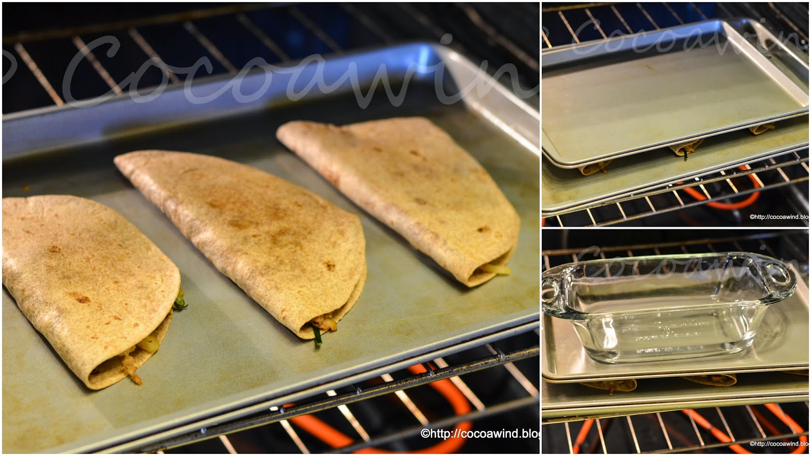 Oven-baked Whole wheat Chicken-Zucchini Quesadilla lookalikes