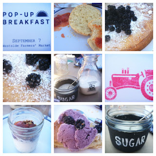 9 pictures in Diptic collage of food from Pop Up breakfast, sugar, biscuits, ice cream