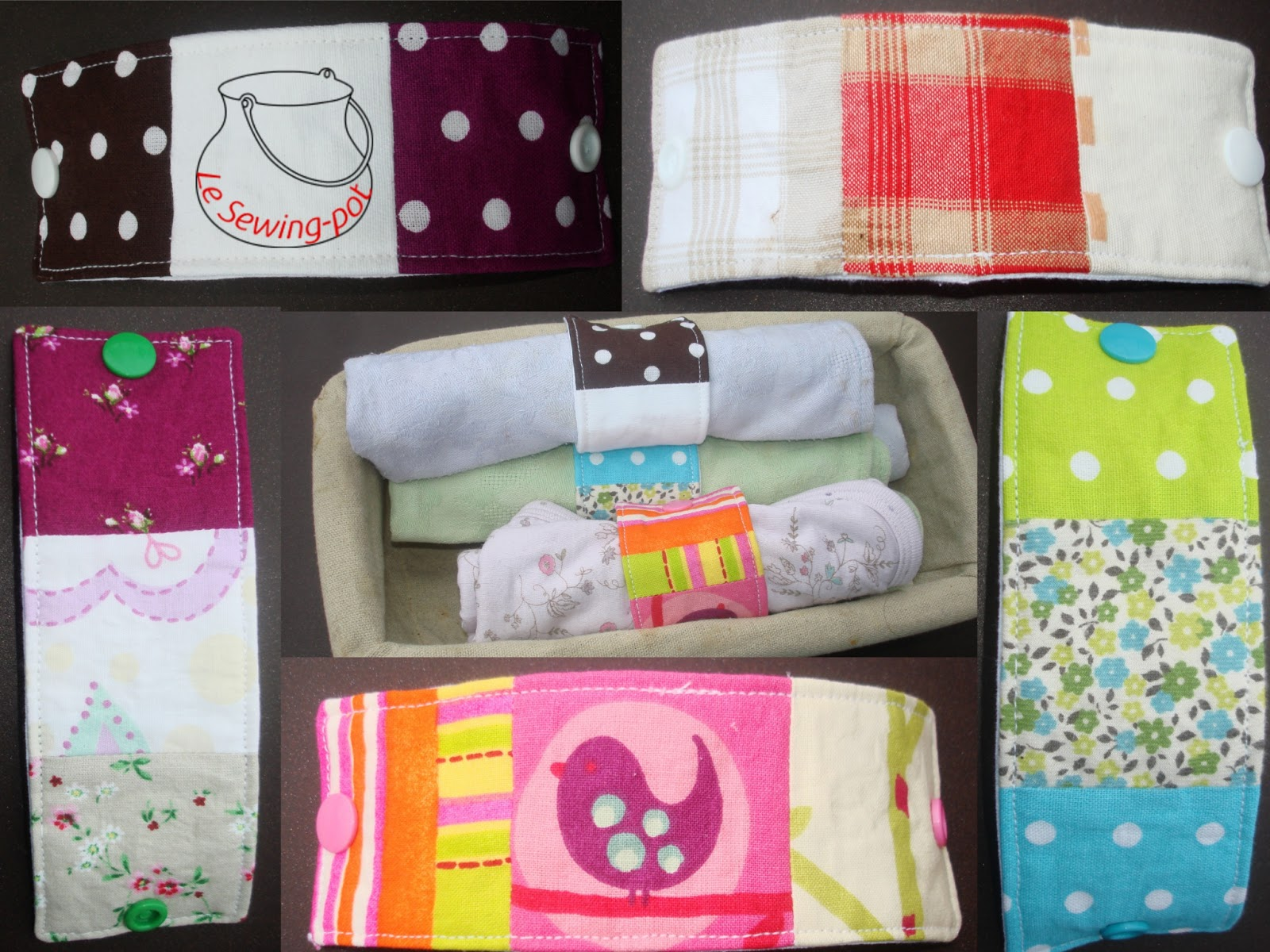 Ronds de serviette quilt scraps napkin rings