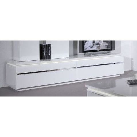 Meuble tv alinea blanc laqu meuble tv for Meuble tv long blanc