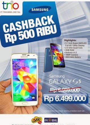 Samsung Galaxy S5 Cashback Rp 500 Ribu