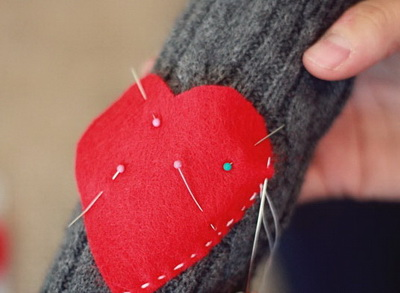 Пришивание сердечка