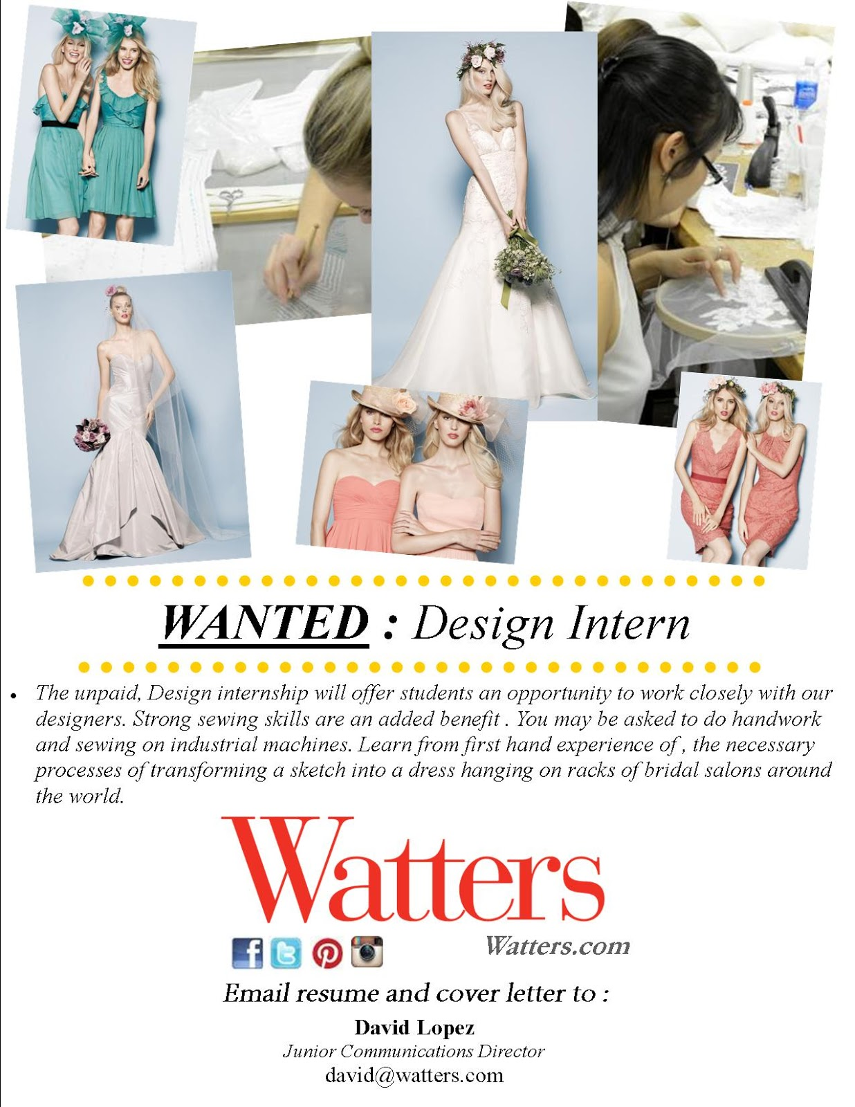 Fashion Design Blog Internship Opportunity At Watters