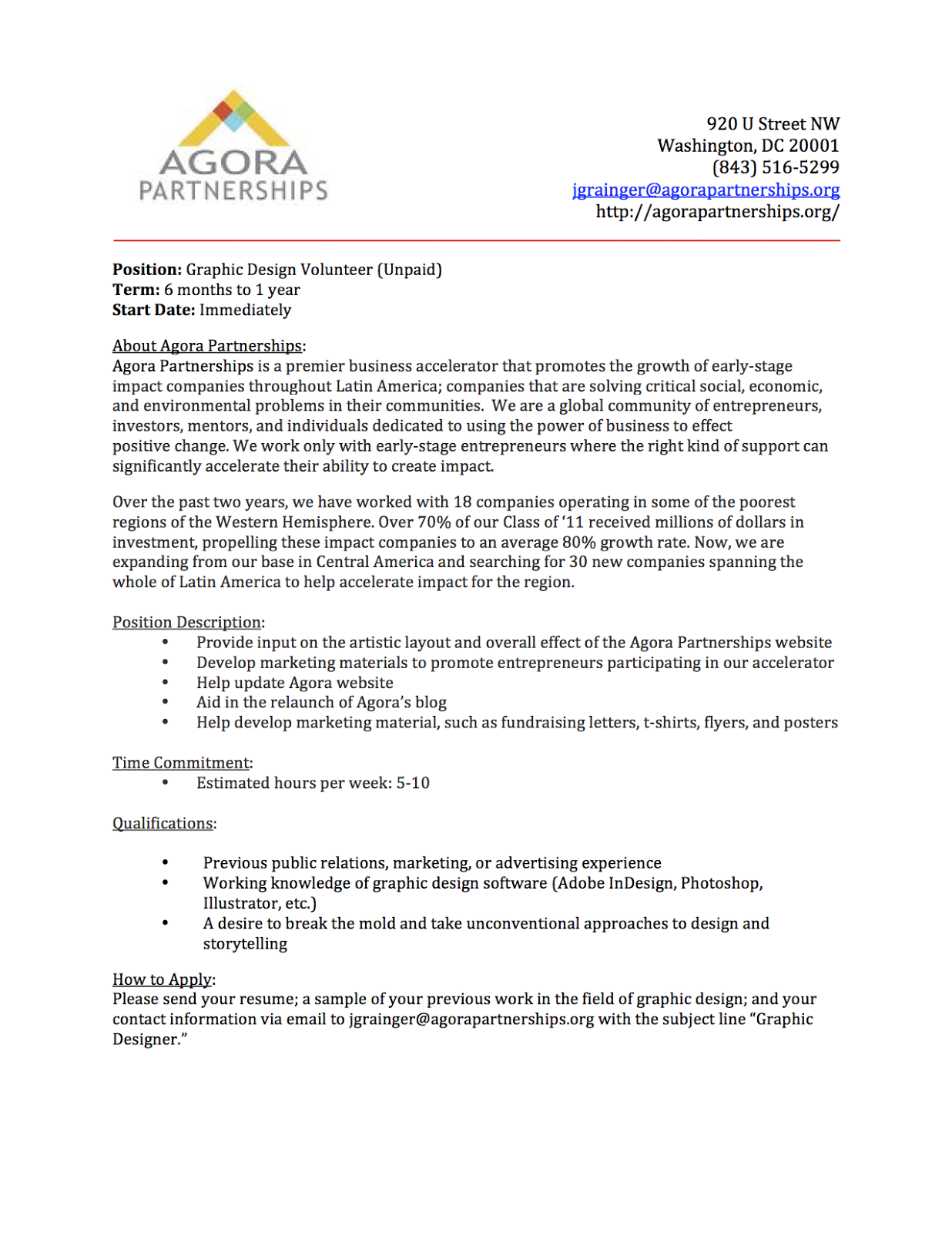 Cover letter of graphic design sample – Internship Cover Letter