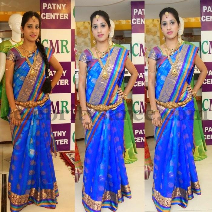 Ayesha Blue Silk Saree