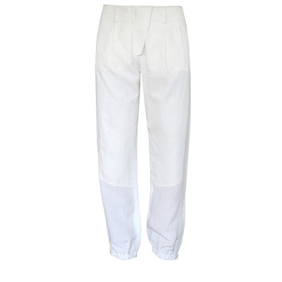 ALEXANDER WANG $435 ivory & white elastic ankle silk trim utility track pants 4