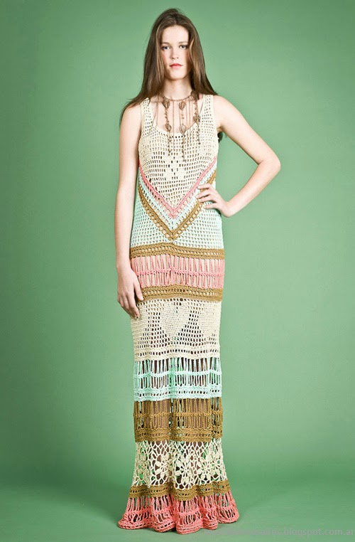 Moda Tejidos vestidos verano 2014. Agostina Bianchi primavera verano 2014.