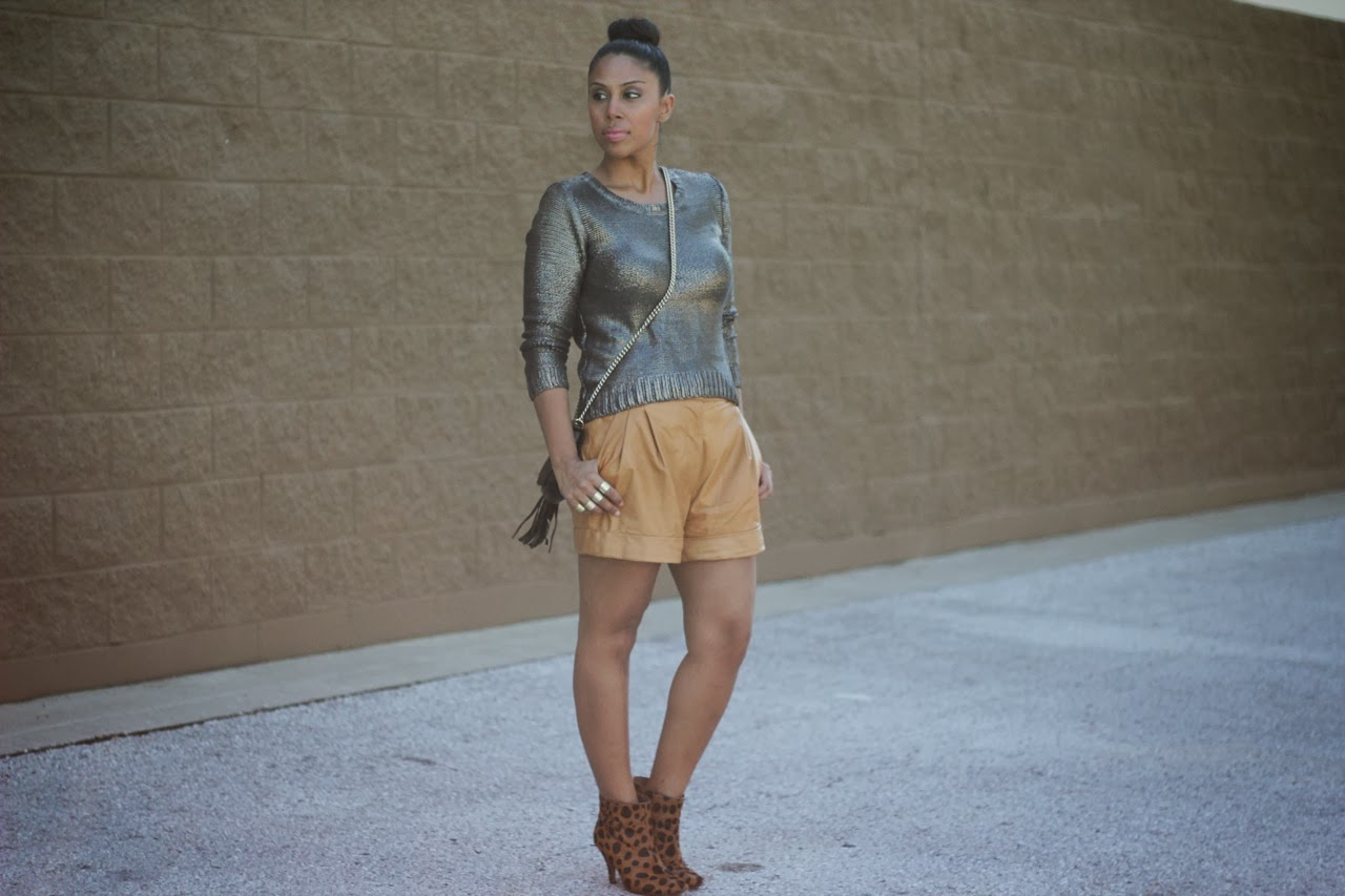 H&M gold sweater metallic leopard booties phillip lim leather shorts jeffrey campbell gucci chain bag cross body