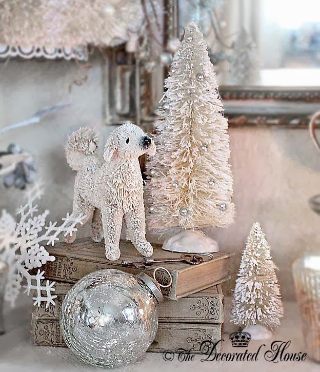 The Decorated House ~ Bless The Animals. Christmas 2013. Adopt Rescue! Pottery Barn Bottlebrush Dog with Bottlebrush Trees. Christmas Decor